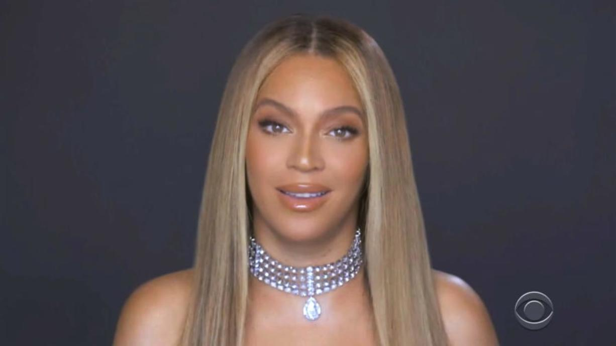 In this video grab issued Sunday, June 28, 2020, by BET, Beyonce accepts the humanitarian award during the BET Awards.