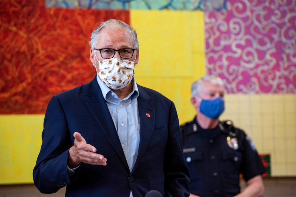 Washington Gov. Jay Inslee speaks at the Columbia Basin College campus in the Tri-Cities on Tuesday June 30, 2020 about the spread of the coronavirus in Benton and Franklin counties.
