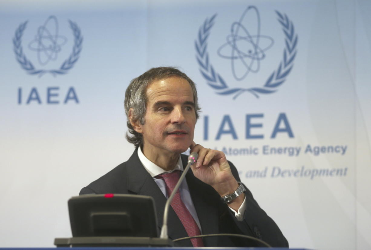 Director General of International Atomic Energy Agency, IAEA, Rafael Mariano Grossi from Argentina, addresses the media during a news conference after a meeting of the IAEA board of governors at the International Center in Vienna, Austria, Monday, March 9, 2020.