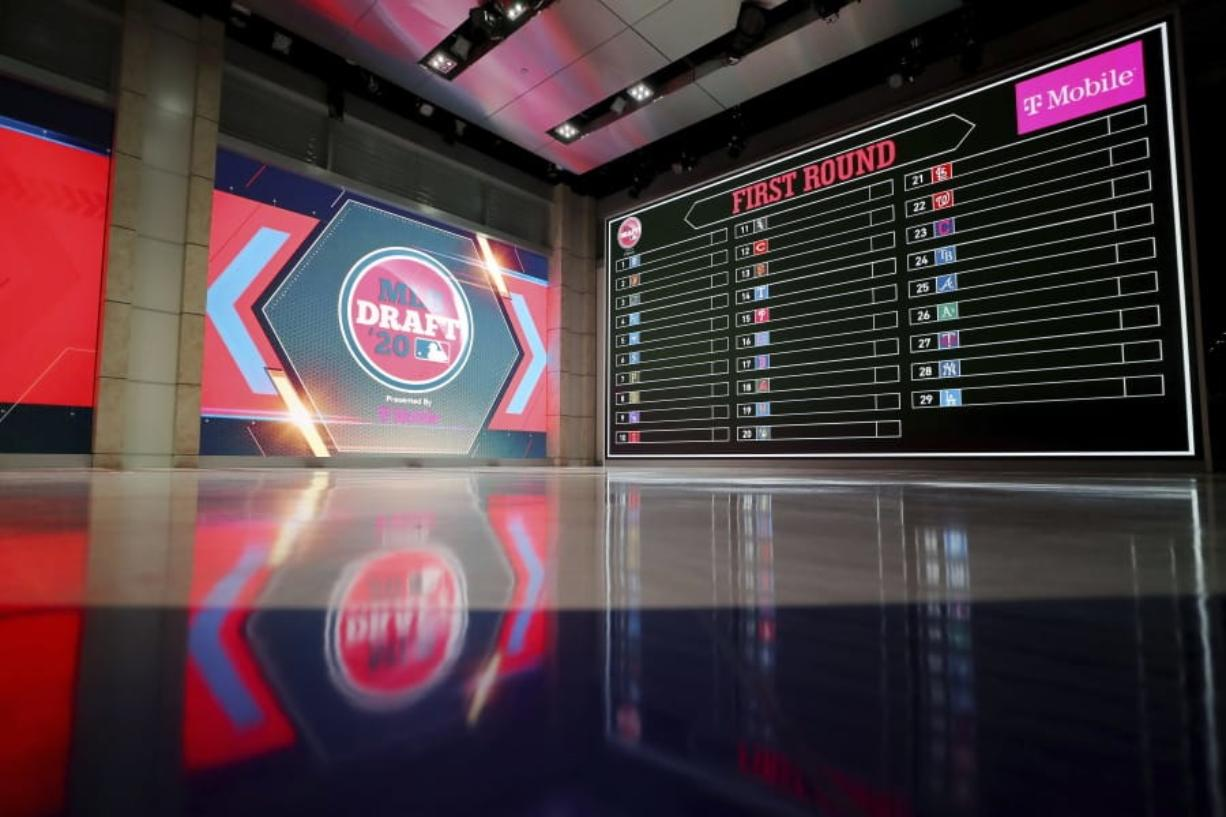 In a photo provided by MLB Photos, the baseball draft board is seen Monday, June 8, 2020 in Secaucus, N.J., for Wednesday's draft.