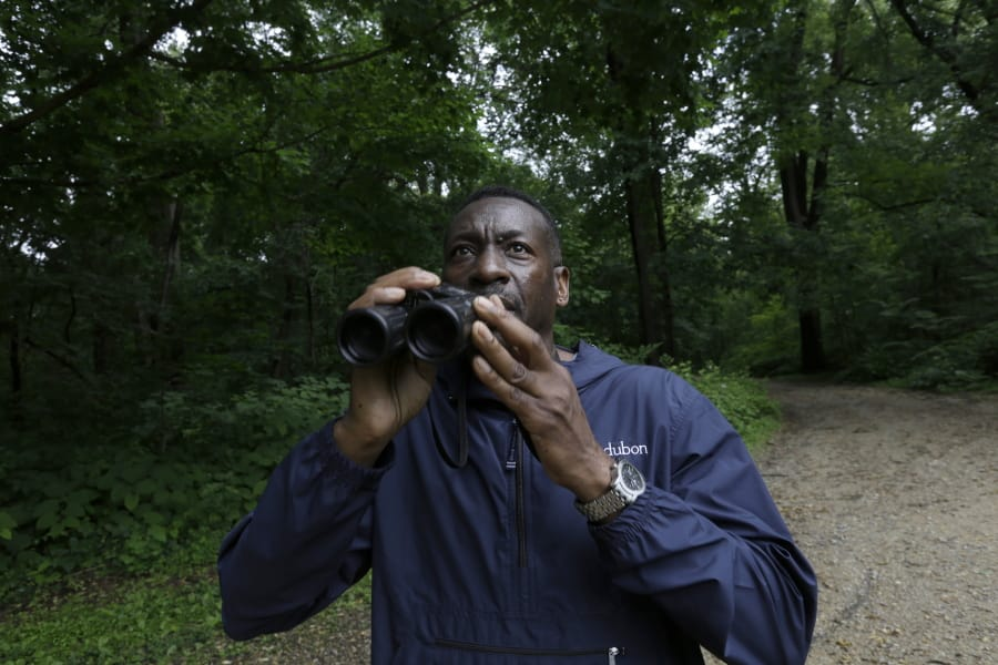 Keith Russell, program manager of urban conservation at Audubon Pennsylvania, lowers his binoculars while conducting a breeding bird census June 5 at Wissahickon Valley Park in Philadelphia.