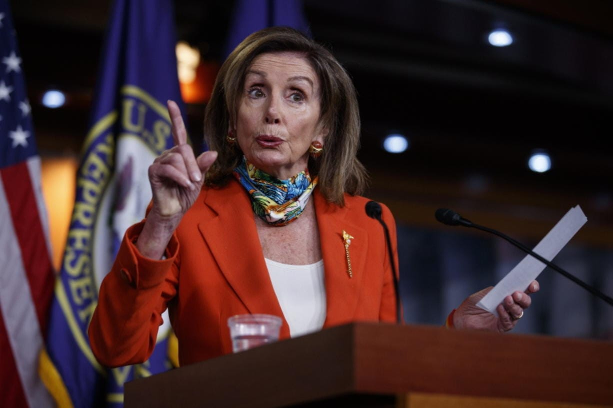 House Speaker Nancy Pelosi of Calif., speaks at a news conference on Capitol Hill in Washington, Friday, June 26, 2020.
