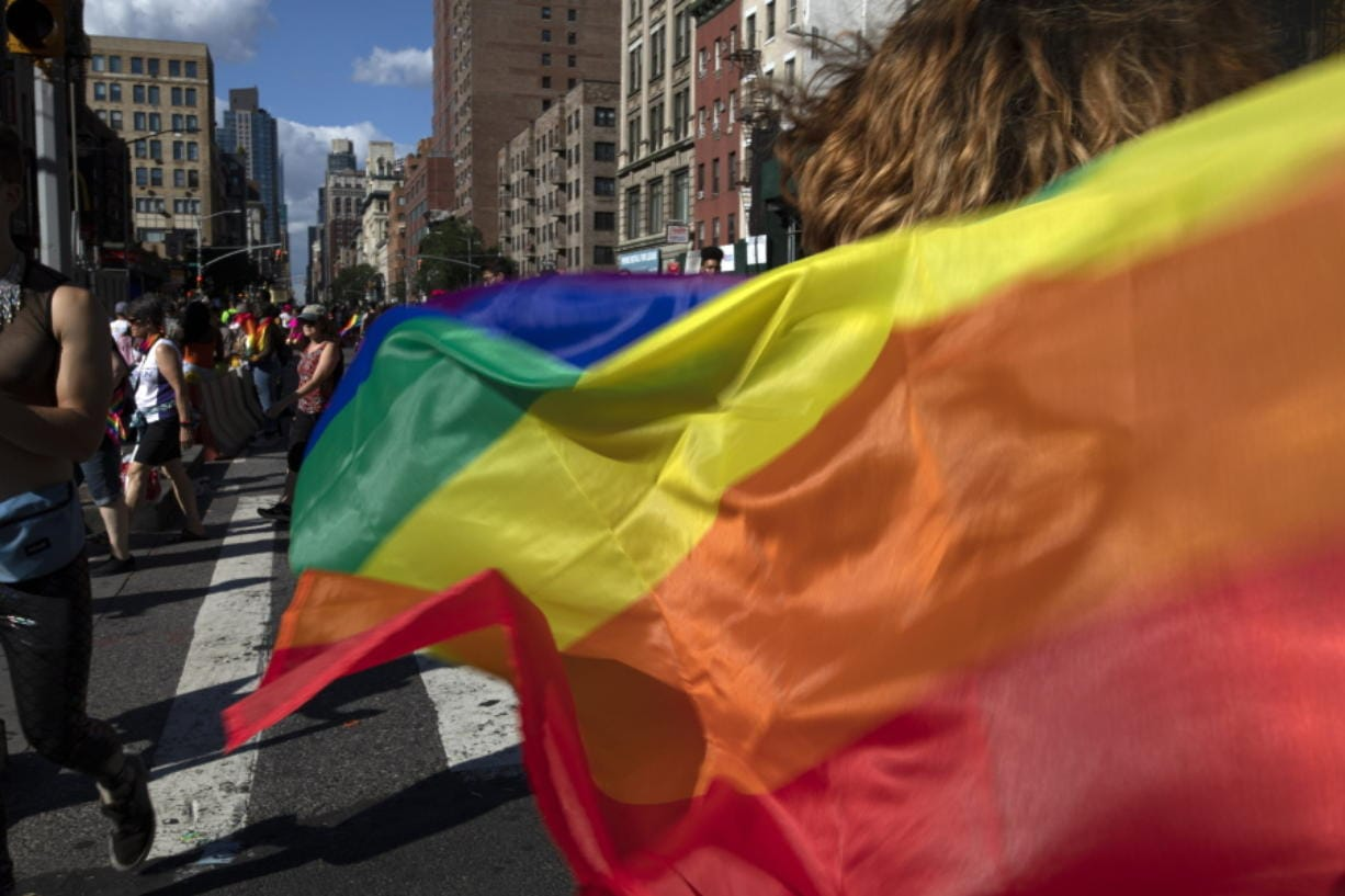 FILE - In this June 30, 2019, file photo parade-goers carrying rainbow flags walk down a street during the LBGTQ Pride march in New York, to celebrate five decades of LGBTQ pride, marking the 50th anniversary of the police raid that sparked the modern-day gay rights movement. Democrats flooded Twitter and email inboxes this week with praise for the watershed Supreme Court decision shielding gay, lesbian and transgender people from job discrimination.