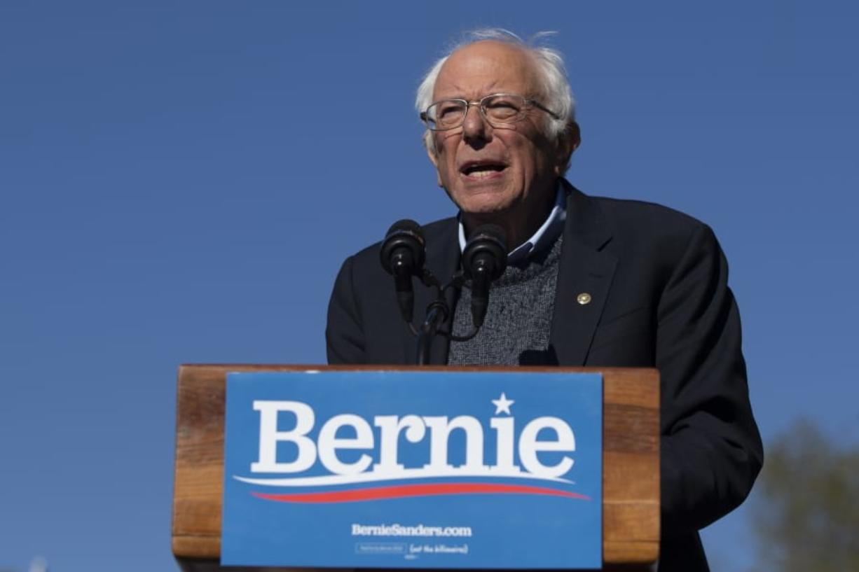 FILE - In this Oct. 19, 2019 file photo, Democratic presidential candidate Sen. Bernie Sanders, I-Vt., speaks to supporters during a rally in New York. A federal appeals court gave the green light Tuesday, May 19, 2020 to New York state's June 23 Democratic presidential primary.  The 2nd U.S. Circuit Court of Appeals agreed with a lower court judge who ruled two weeks ago that the primary must include the contest over the state's objections.