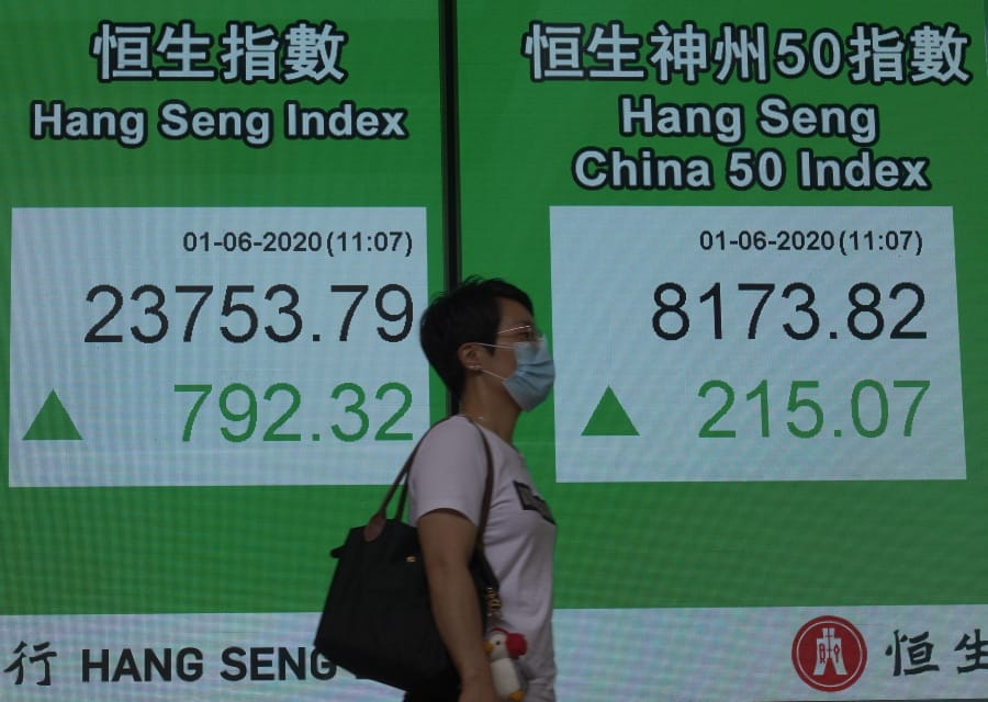 A woman wearing a face mask walks past a bank electronic board showing the Hong Kong share index at Hong Kong Stock Exchange Monday, June 1, 2020. Asian stock markets have rebounded after U.S. President Donald Trump avoided reigniting a trade war with China amid tension.