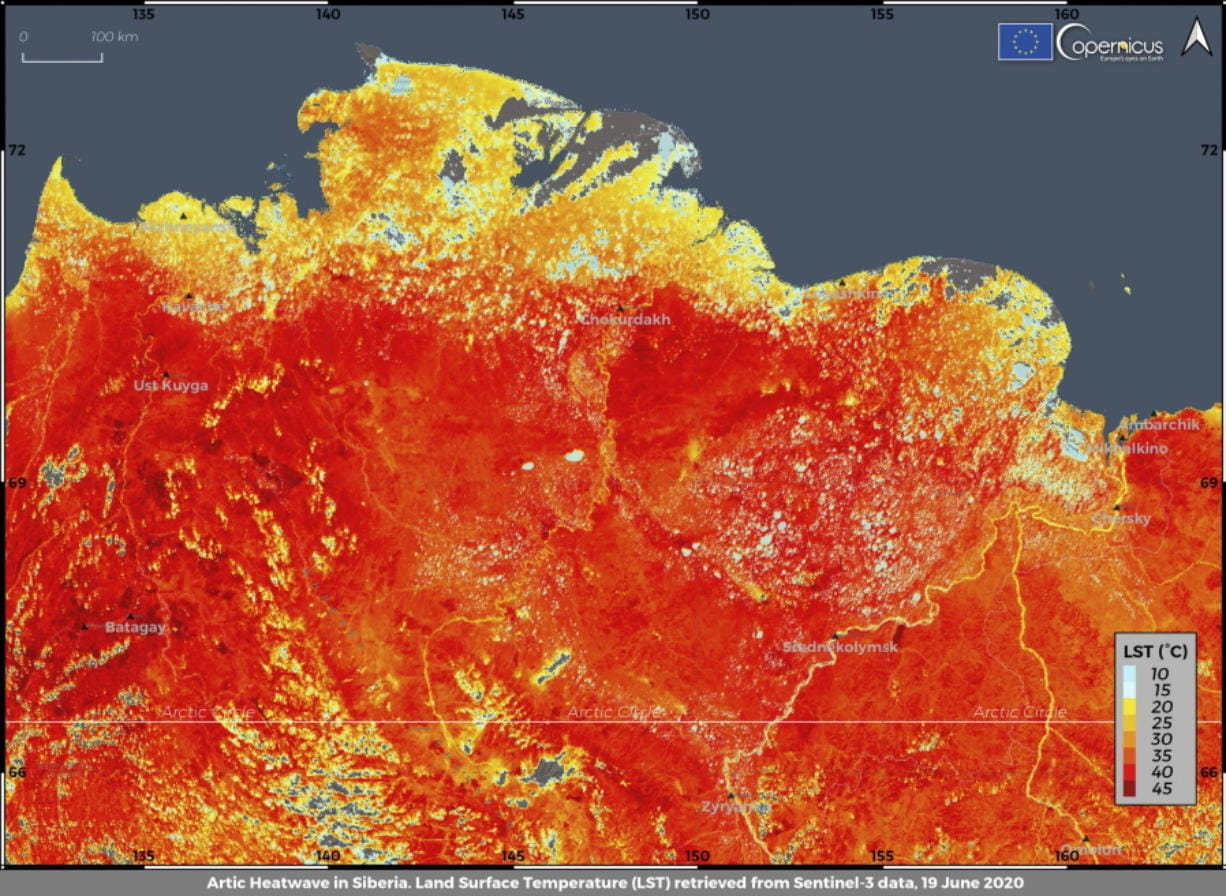 This photo taken on Friday, June 19, 2020 and provided by ECMWF Copernicus Climate Change Service shows the land surface temperature in the Siberia region of Russia. A record-breaking temperature of 38 degrees Celsius (100.4 degrees Fahrenheit) was registered in the Arctic town of Verkhoyansk on Saturday, June 20 in a prolonged heatwave that has alarmed scientists around the world.