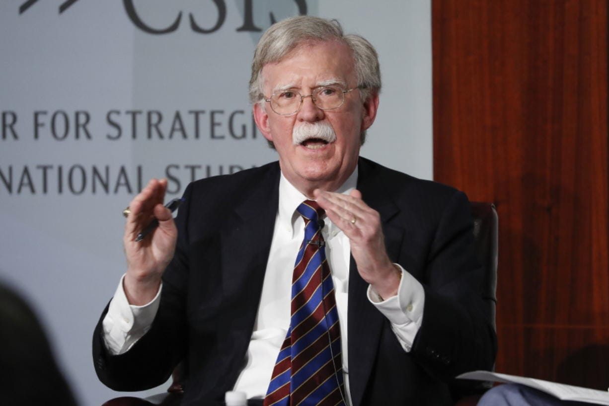 FILE - In this Sept. 30, 2019, file photo, former National security adviser John Bolton gestures while speakings at the Center for Strategic and International Studies in Washington.   A federal judge has ruled, Saturday, June 20, 2020, that former national security adviser John Bolton can move forward in publishing his tell-all book.