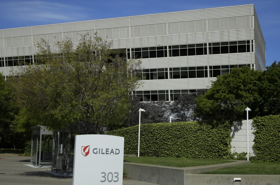 FILE - This is an April 30, 2020, file photo showing Gilead Sciences headquarters in Foster City, Calif. The maker of a drug shown to shorten recovery time for severely ill COVID-19 patients says it will charge $2,340 for a typical treatment course for people covered by government health programs in the United States and other developed countries. Gilead Sciences announced the price Monday, June 29 for remdesivir, and said the price would be $3,120 for patients with private insurance. It will sell for far less in poorer countries where generic drugmakers are being allowed to make it.