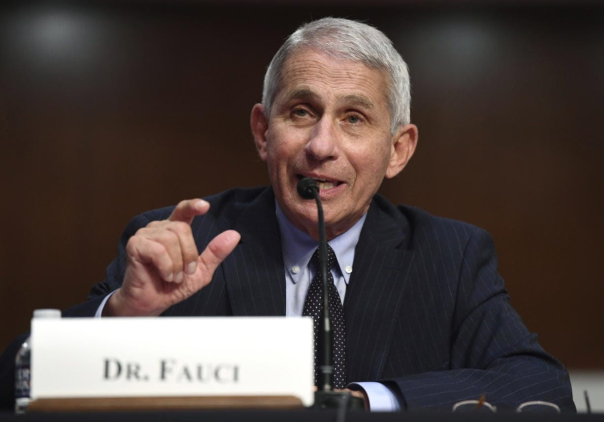Dr. Anthony Fauci, director of the National Institute for Allergy and Infectious Diseases, testifies before a Senate Health, Education, Labor and Pensions Committee hearing on Capitol Hill in Washington, Tuesday, June 30, 2020.