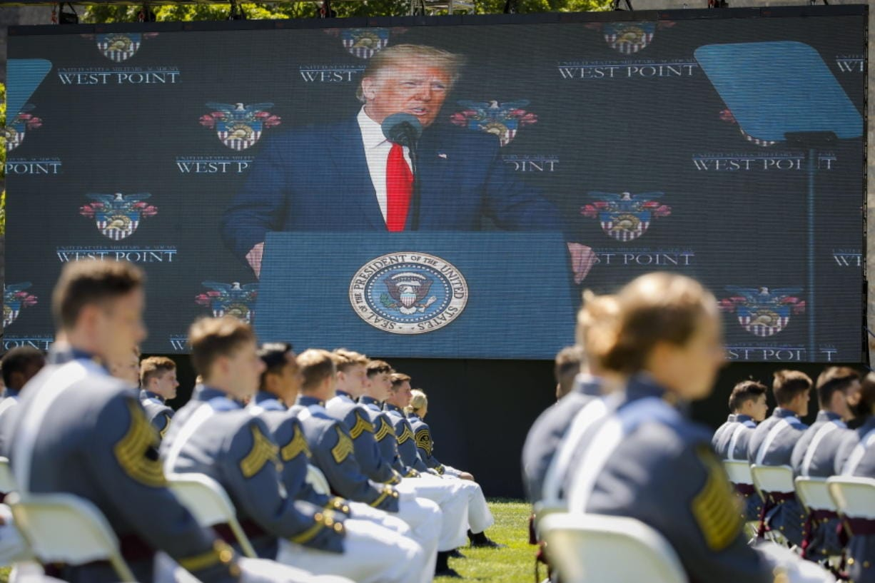 President Donald Trump speaks to United States Military Academy graduating cadets during commencement ceremonies, Saturday, June 13, 2020, in West Point, N.Y. Trump's commencement speech to the 1,100 graduating cadets during a global pandemic comes as arguments rage over his threat to use American troops on U.S. soil to quell protests stemming from the killing of George Floyd by a Minneapolis police officer.