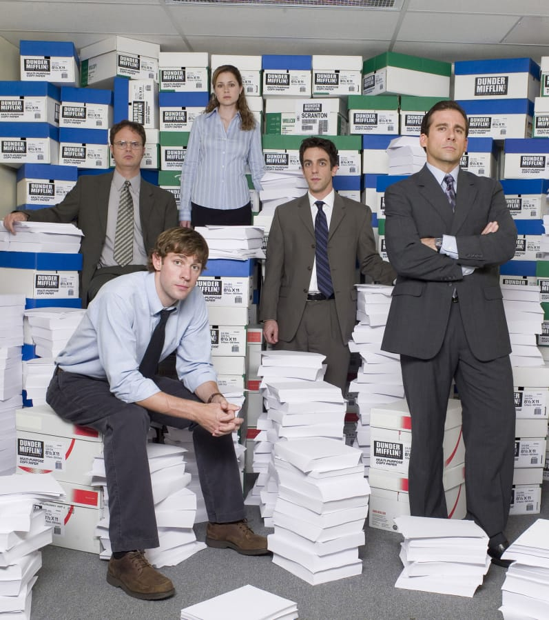 "John Krasinski, from left, Rainn Wilson, Jenna Fischer, B.J. Novak and Steve Carell in NBC's ""The Office."" An episode of ""The Office"" has been edited to remove a scene featuring a character in blackface."