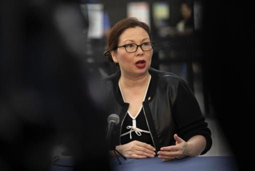 Sen. Tammy Duckworth (D-IL) speaks during a news conference at O'Hare International Airport in Chicago on Jan. 7, 2019.