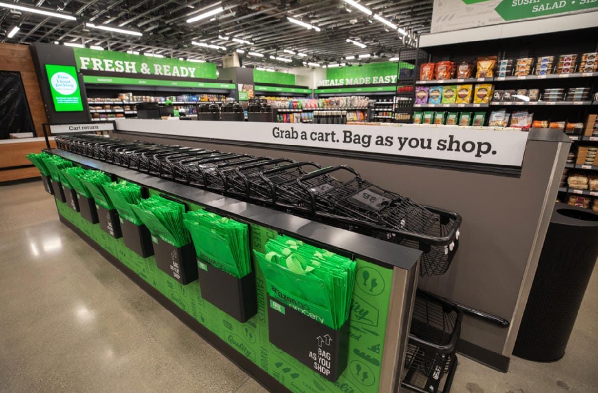 Parking is validated for shoppers at the new Amazon Go Grocery on Seattle's Capitol Hill. (Ellen M.