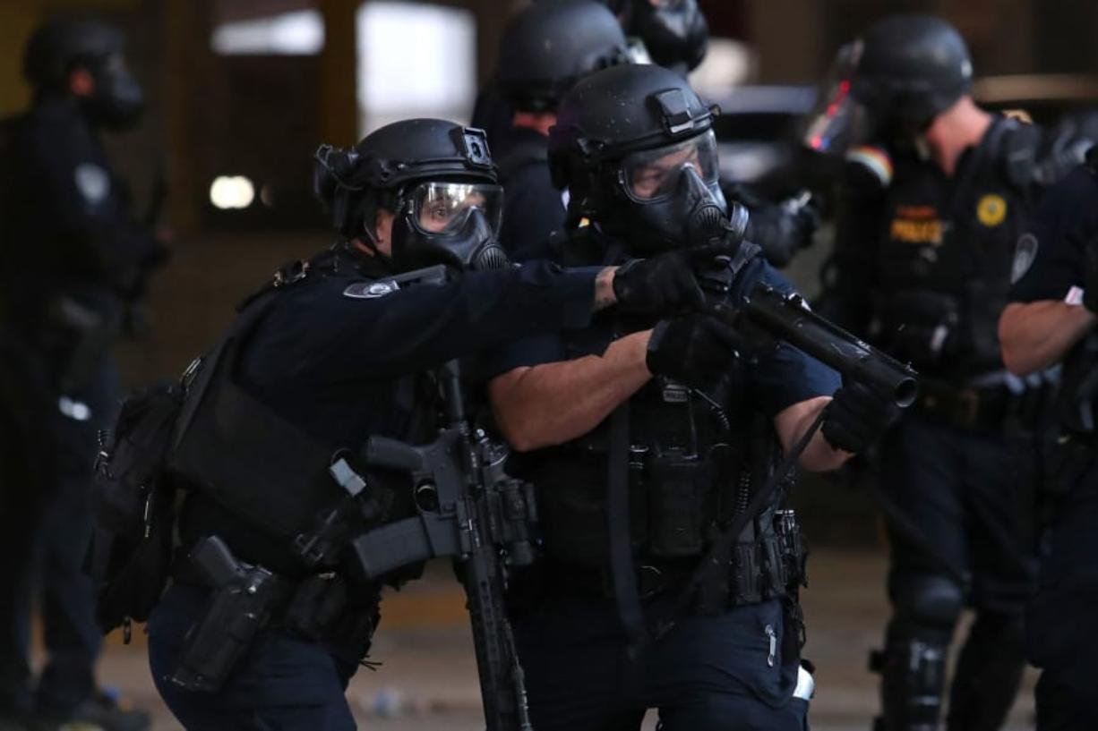 Police officers in downtown Fort Lauderdale, Florida, during a protest on May 31, 2020.