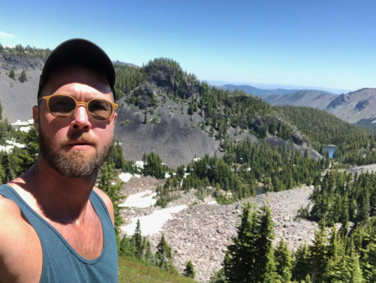 James Thomason of Portland took this selfie July 11 shortly before falling and breaking his right leg near Mount Jefferson in Oregon.