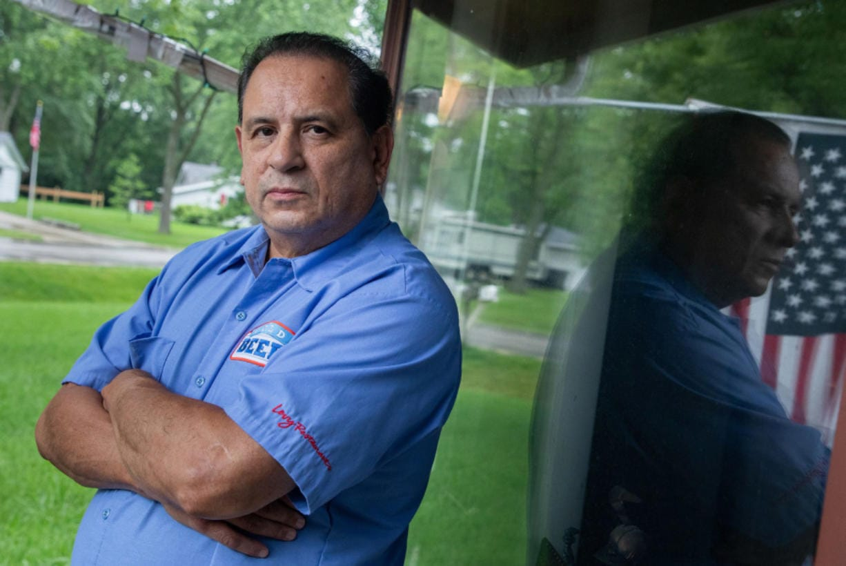 Joseph Aleman, 62, at his home in Orland Park, Ill., on July 21, 2020. Aleman was laid off from two jobs in March, he was selling beer at a Wrigley Field bar for 39 years and worked as an extra on TV show sets. He gets $219 in base benefits plus the $600 pandemic bonus which is set to expire.