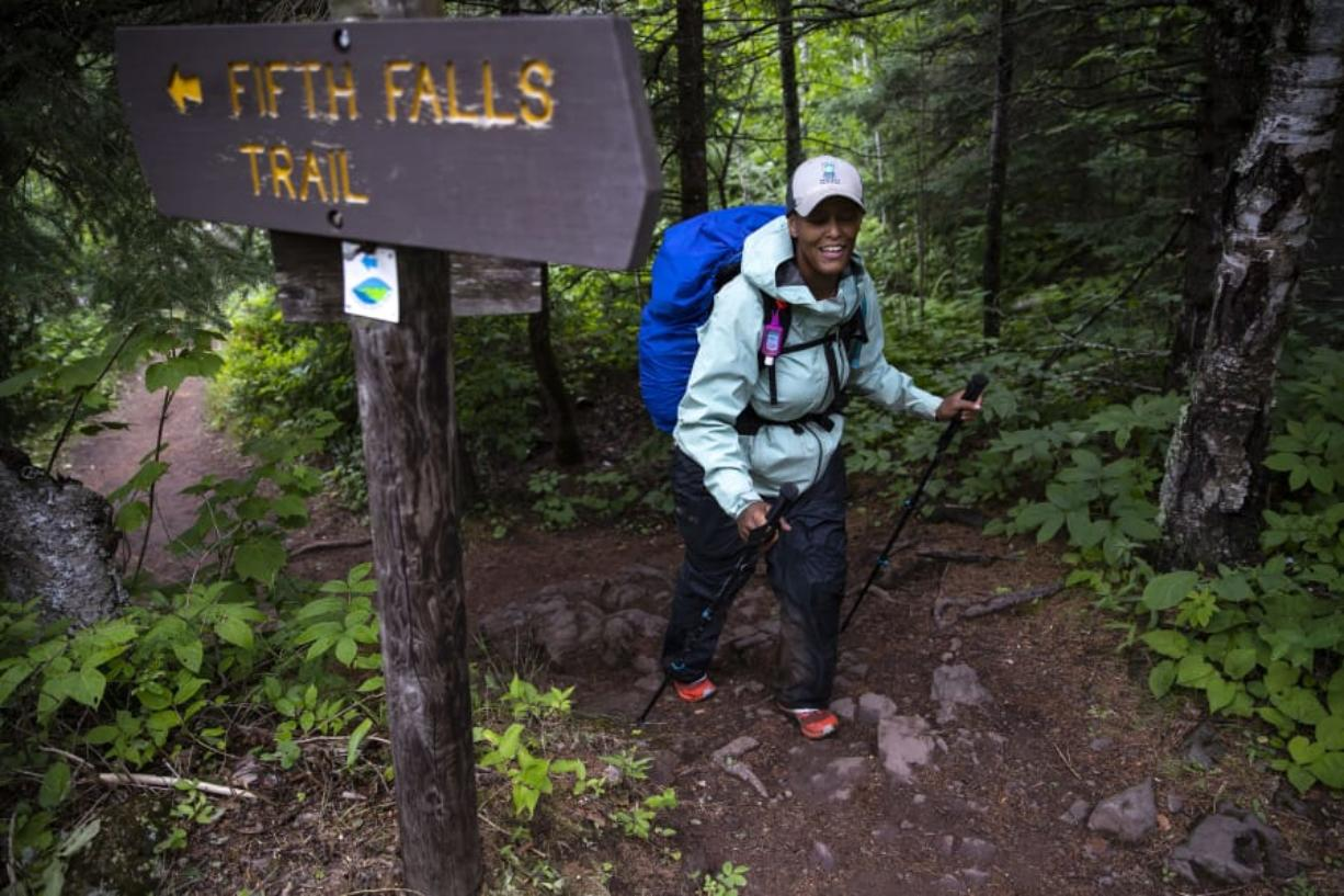 Crystal Gail Welcome hikes through the Superior Hiking Trail between Castle Danger and Gooseberry Falls in Two Harbors, Minn., on June 14.