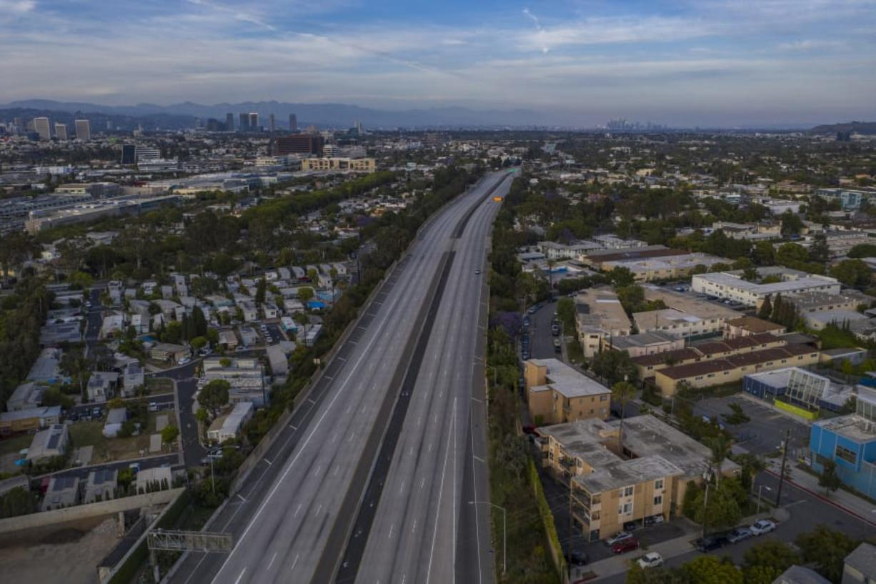 A drone aerial view shows an empty Interstate 10 freeway after all westbound traffic toward Santa Monica, California, was shut down due to rioting and an emergency curfew during demonstrations on May 31, 2020.