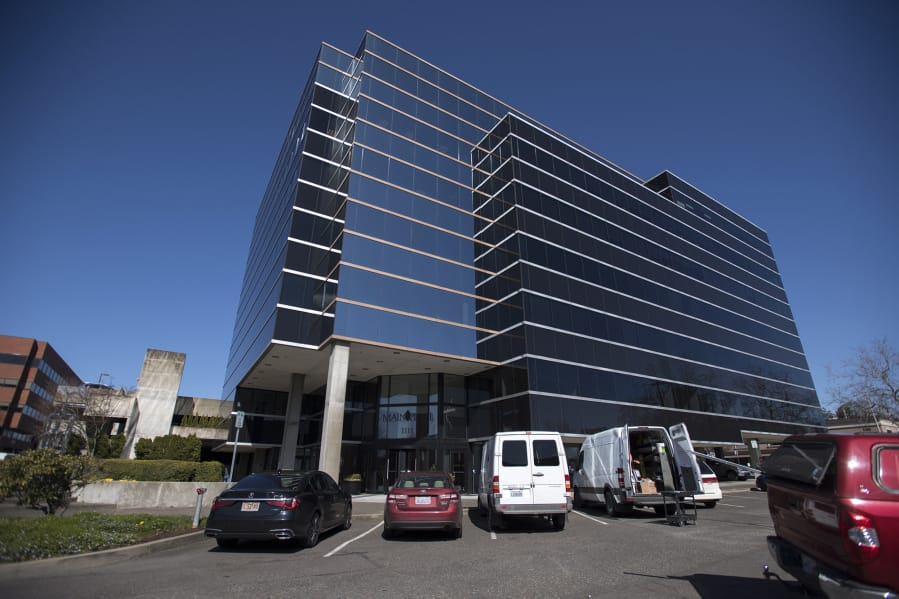 Biotech company CytoDyn, headquartered at 1111 Main Street, pictured, said in March that it was about to start testing a coronavirus treatment drug. The company says it expects clinical trial results by the end of July.