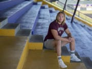 Beau Braden, a 2018 Columbia River High graduate, is pictured in his school's grandstands on Thursday afternoon, June 25, 2020. Beau played two seasons of football at Washington State University, but recently transferred to Montana. One of the reasons for the transfer is to honor the late Hunter Pearson, a friend and football teammate who died in 2017.