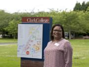 Karin Edwards, the incoming president of Clark College who has a background supporting students of color, is seen on campus Tuesday afternoon.