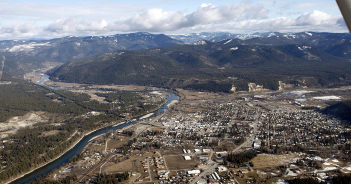 This 2010 aerial photo shows the town of Libby, Mont., which was contaminated with asbestos from a vermiculite mine.