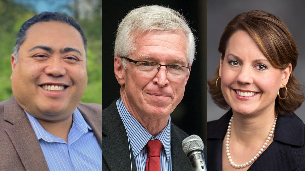 Rick Bell, from left, John Ley and Sen. Ann Rivers are running for the 18th District Washington state Senate seat.