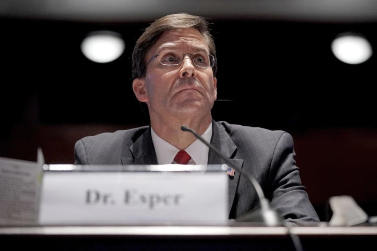 Defense Secretary Mark Esper testifies during a House Armed Services Committee hearing on Thursday, July 9, 2020, on Capitol Hill in Washington.