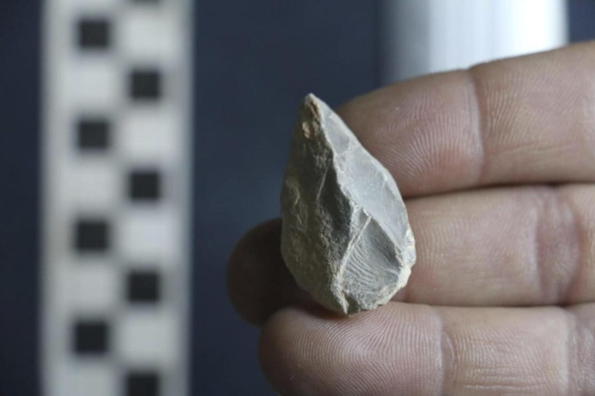 A stone tool found below the Last Glacial Maximum layer from a cave in Zacatecas, central Mexico. Artifacts from the cave suggest people were living in North America much earlier than most scientists think.