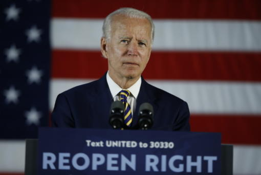 FILE - In this June 17, 2020, file photo Democratic presidential candidate, former Vice President Joe Biden pauses while speaking, in Darby, Pa. Amid a summer of racial unrest and calls for more diversity in leadership, President Donald Trump lags Democratic rival Joe Biden in the percentage of people of color on their campaign staffs, according to data the campaigns provided to The Associated Press.