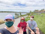 The #MaskUpClarkCounty Instagram contest started Monday and will end Aug. 21. Clark County resident Sasha Resoff and her daughter, Gwyn, and son, Alexei, sporting masks at Vancouver Waterfront Park.