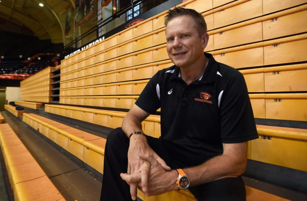 In this undated photo Oregon State University volleyball coach Mark Barnard poses for a photo in Corvallis, Ore. Players, parents and observers of the program tell The Associated Press that Barnard runs punishment practices past the point of safety, uses scholarships as leverage and pits players against each other in team meetings. The school says an investigation into the program has concluded and appropriate action has been taken to address the complaints.