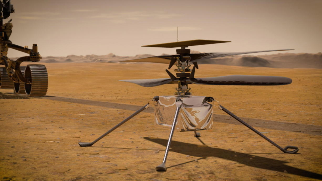 An illustration depicts the Ingenuity Mars Helicopter on the red planet's surface near the Perseverance rover, left.