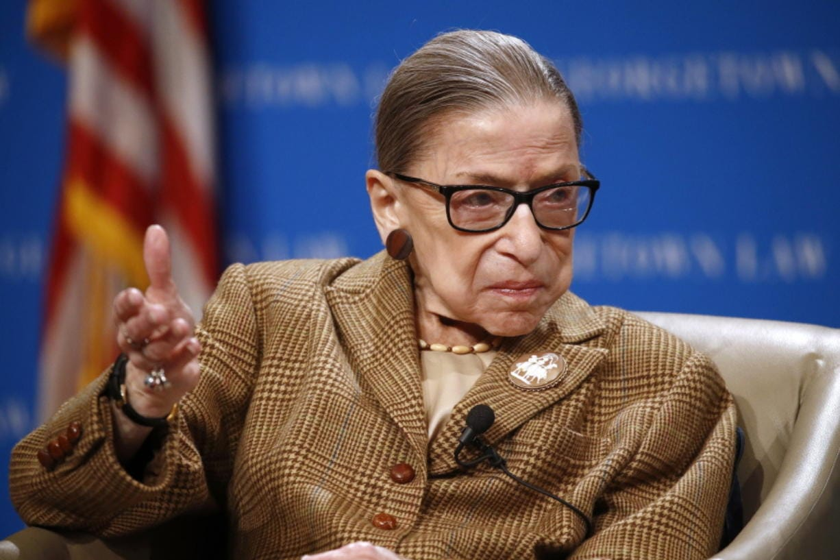 FILE - In this Feb. 10, 2020, file photo U.S. Supreme Court Associate Justice Ruth Bader Ginsburg speaks during a discussion on the 100th anniversary of the ratification of the 19th Amendment at Georgetown University Law Center in Washington.