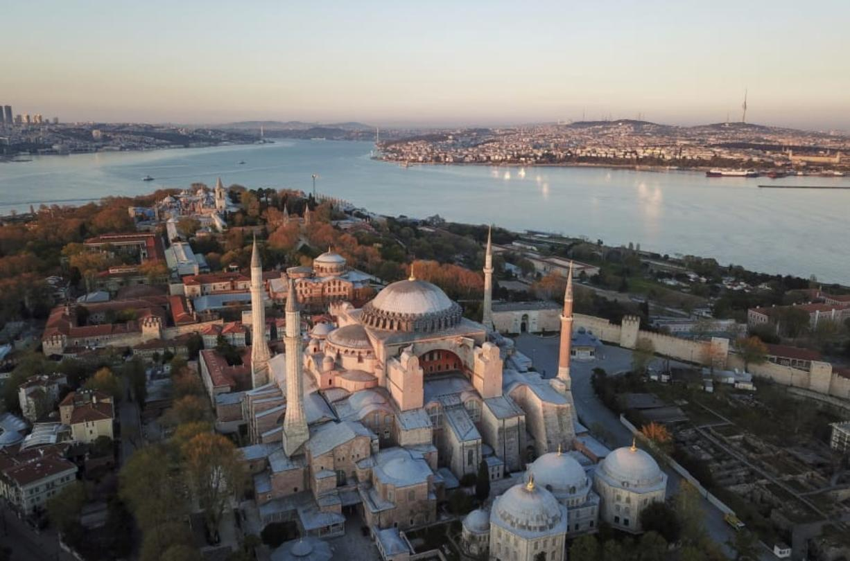 An aerial view of the Byzantine-era Hagia Sophia, one of Istanbul's main tourist attractions in the historic Sultanahmet district of Istanbul, Saturday, April 25, 2020. The 6th-century building is now at the center of a heated debate between conservative groups who want it to be reconverted into a mosque and those who believe the World Heritage site should remain a museum.
