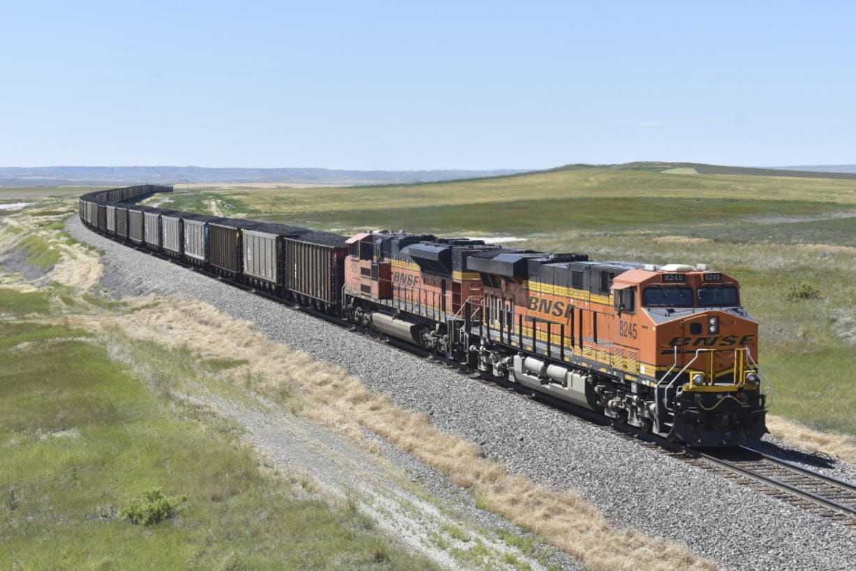 A BNSF Railway train hauling carloads of coal from the Powder River Basin of Montana and Wyoming is seen east of Hardin, Mont., on July 15.