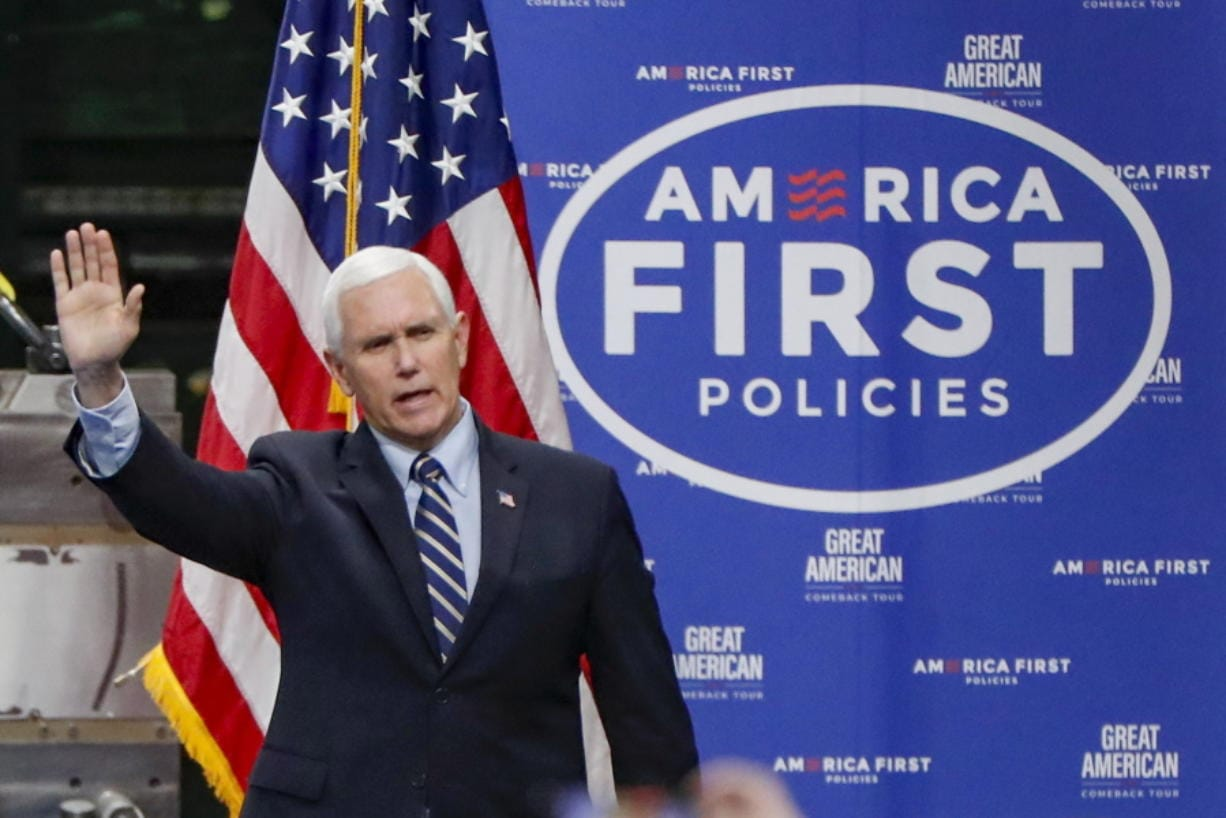 FILE - In this June 12, 2020, file photo Vice President Mike Pence, waves as he arrives to speak after a tour at Oberg Industries plant in Sarver, Pa. As the public face of the administration's coronavirus response. Vice President Mike Pence has been trying to convince Americans that the country is winning even as cases spike in large parts of the country. For public health experts, that sense of optimism is detached from reality.