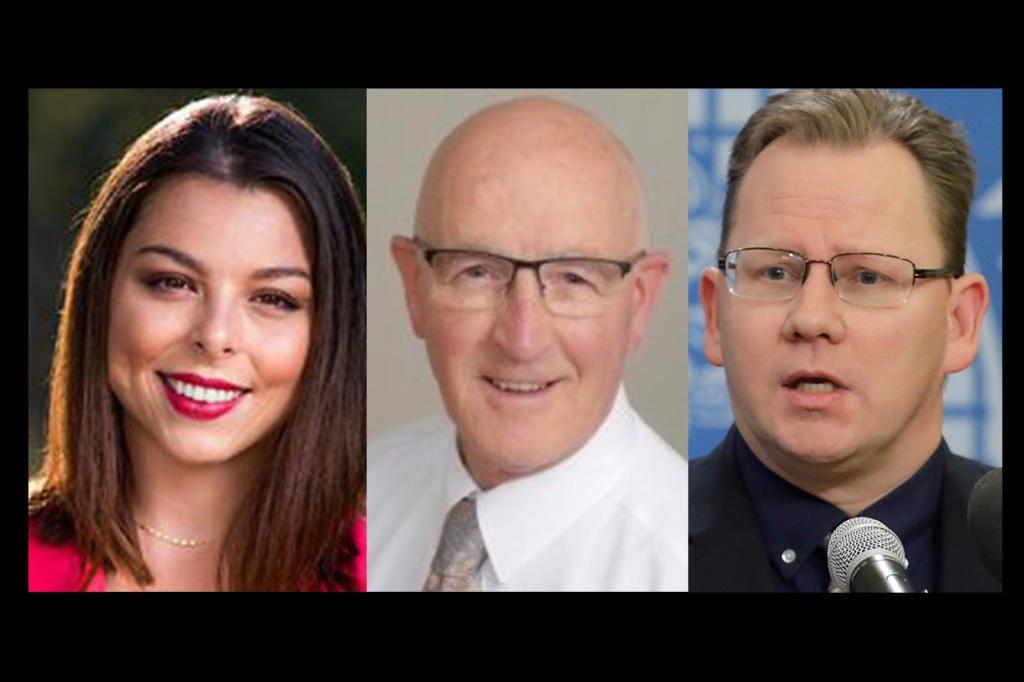 Candidates for Washington superintendent of public instruction: from left, Maia Espinoza, Ron HIggins, Chris Reykdal