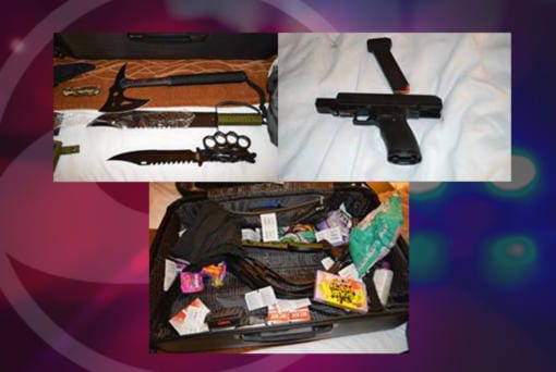 Detectives executed a search warrant at the Vancouver hotel room of Samuel Aaron Leonard, 39, of New Port Richey, Fla., and located what appears to be a kidnappers kit which included heavy duty flex cuffs, handcuffs, duct tape, rubber gloves, face wrap/blindfold, lubricant, a sex toy, several large knives, a hatchet, and a .45 caliber handgun and ammunition. Leonard was arrested by Vancouver police on suspicion of child sexual exploitation.