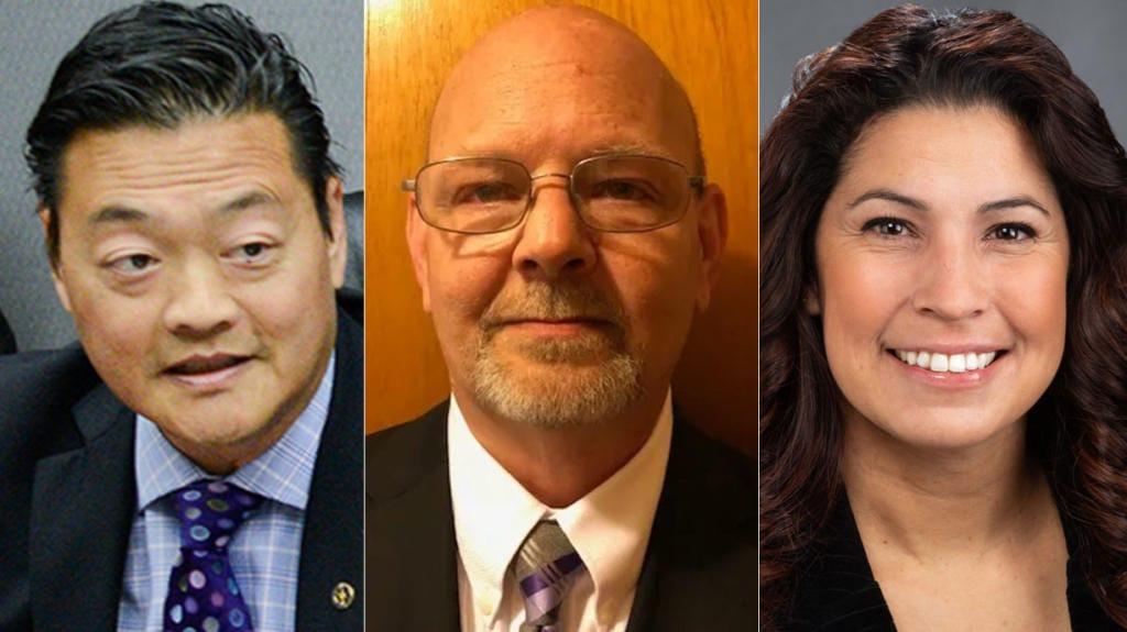 Candidates for the Washington Legislature's 49thDistrict, Position 2: (from left) Park Llafet, Troy Potter and Rep. Monica Stonier.