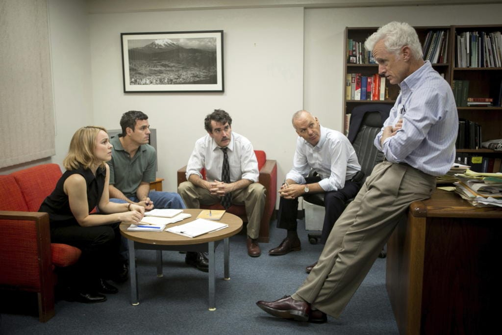 "With the pandemic we can't get a group photo of the editors, but rest assured we look nothing like this still from the movie ""Spotlight."" From left: Rachel McAdams, as Sacha Pfeiffer, Mark Ruffalo as Michael Rezendes, Brian d'Arcy James as Matt Carroll, Michael Keaton as Walter ""Robby"" Robinson and John Slattery as Ben Bradlee Jr."