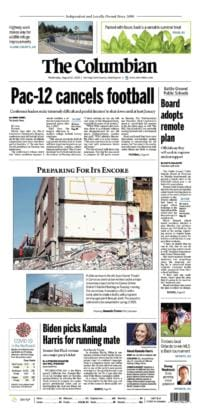Wednesday, Aug. 12th The Columbian front page preview