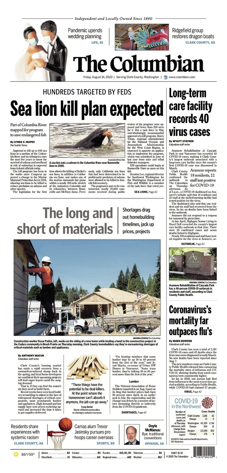 Friday, Aug. 14th The Columbian front page preview