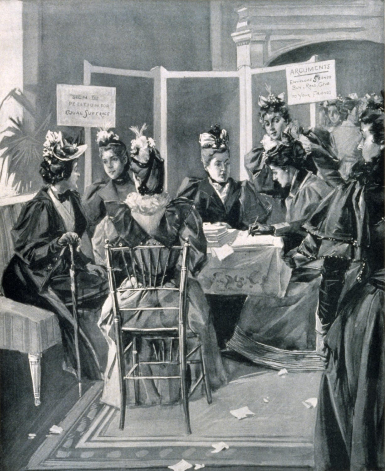 Vintage illustration shows leaders in the women's suffrage movement in New York City securing signatures for petitions to be presented to the constitutional convention.