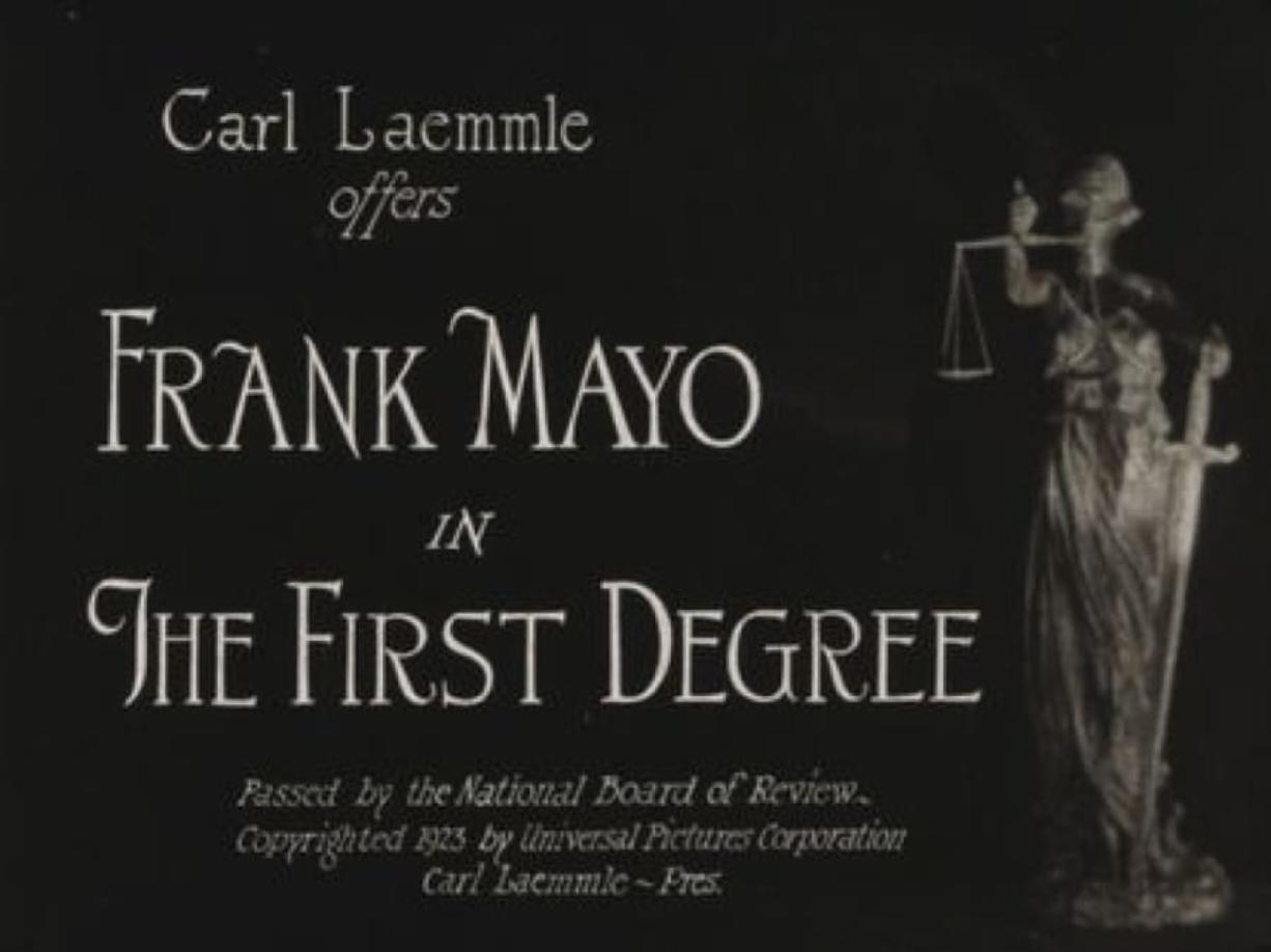 "Opening titles for a recently rediscovered courtroom drama ""The First Degree."" (Chicago Film Archives)"