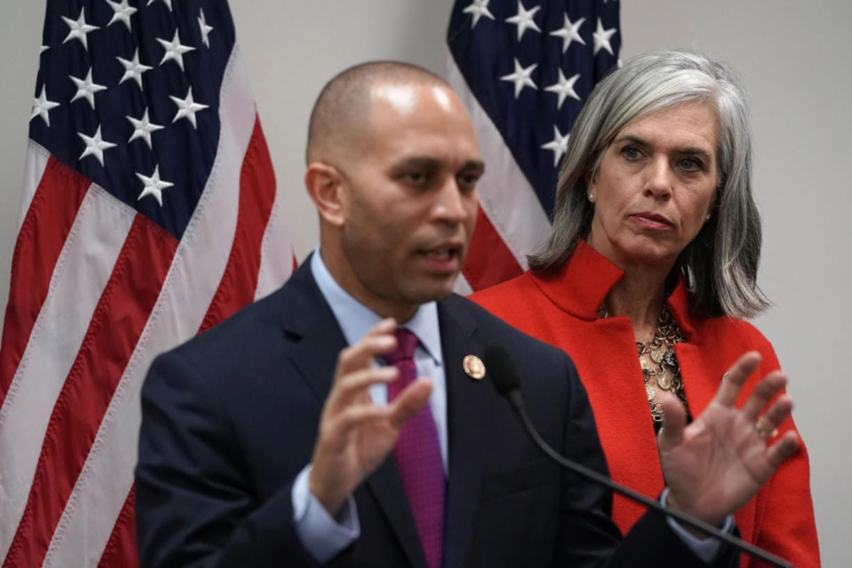 House Democratic Caucus Vice Chair Katherine Clark (D-MA), right, listens as House Democratic Caucus Chairman Rep. Hakeem Jeffries (D-NY) speaks during a news conference at the U.S. Capitol in Washington, D.C., on January 9, 2019.