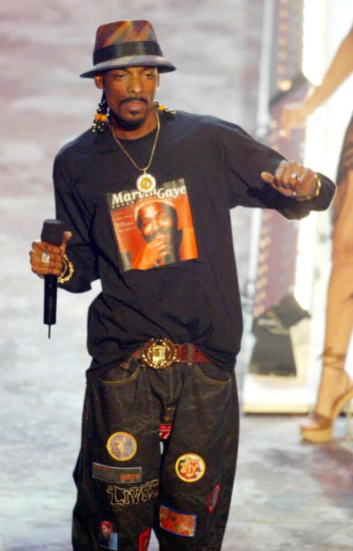 Rap artist Snoop Dogg performs at the 2003 BET Awards.