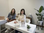 Callie Christensen, left, and Kelly Oriard, co-founders and CEOs of Slumberkins, in their downtown Vancouver office in September.