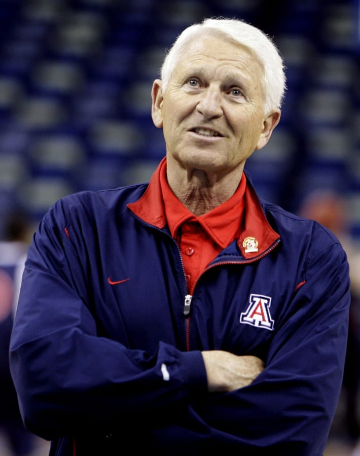 Arizona men's basketball coach Lute Olson, pictured here in 2007, has died at the age of 85. Olson's family said he died Thursday, Aug. 27, 2020. The family did not provide the cause of death. (AP Photo/Alex Brandon, File)