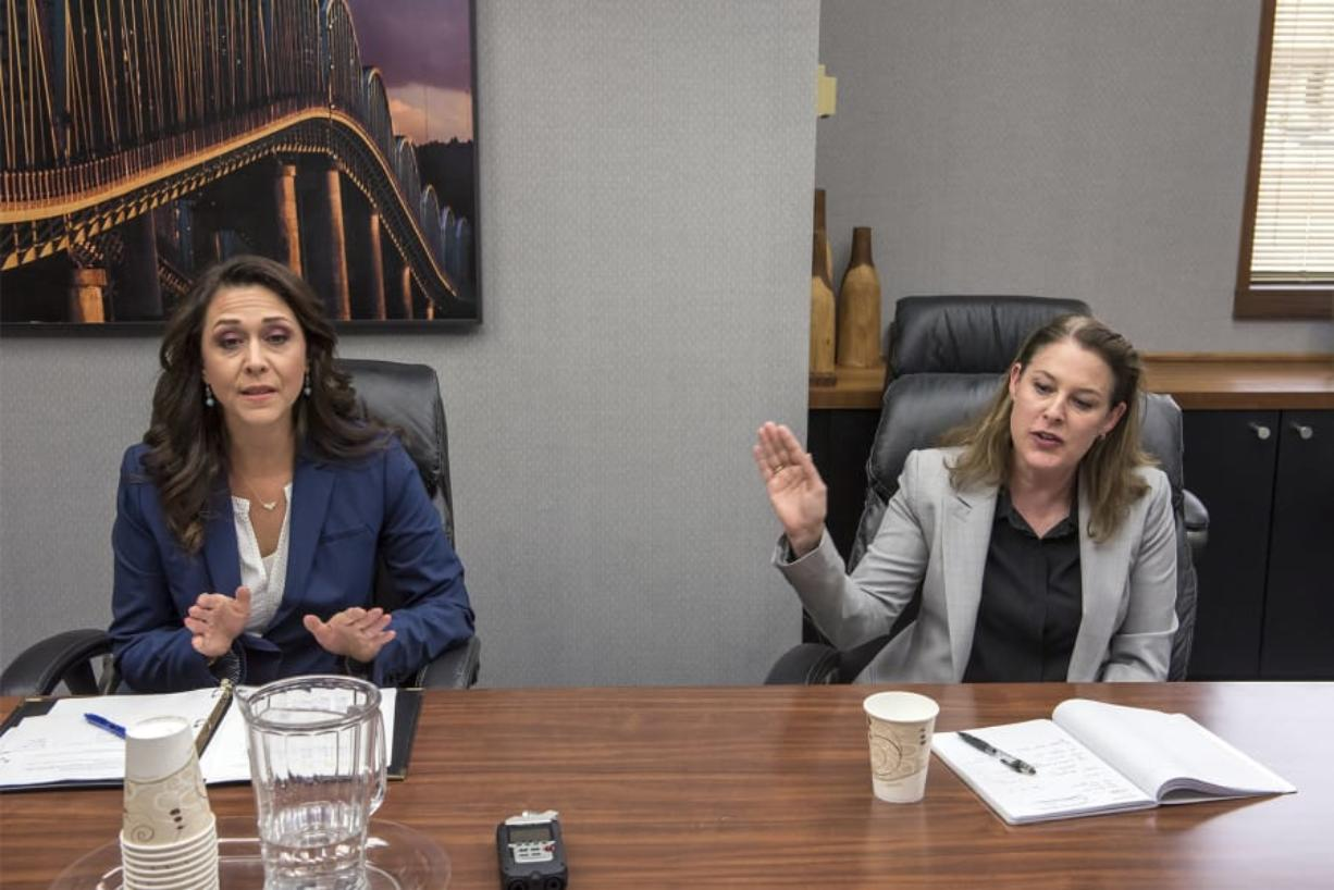 Incumbent U.S. Rep. Jaime Herrera Beutler, R-Battle Ground, left, and candidate Carolyn Long, shown here at a 2018 editorial board meeting, met with The Columbian's Editorial Board on Wednesday. Long and Herrera Beutler face off for a second time in the 2020 election for the 3rd Congressional District seat.